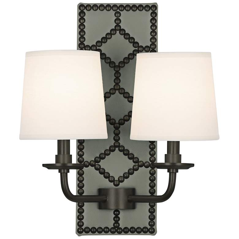 """Lightfoot 16 1/2""""H Patina Bronze with Carter Leather Sconce"""