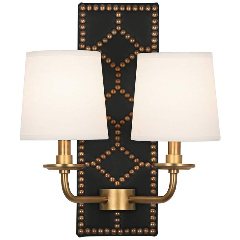 """Lightfoot 16 1/2""""H Aged Brass with Black Leather"""