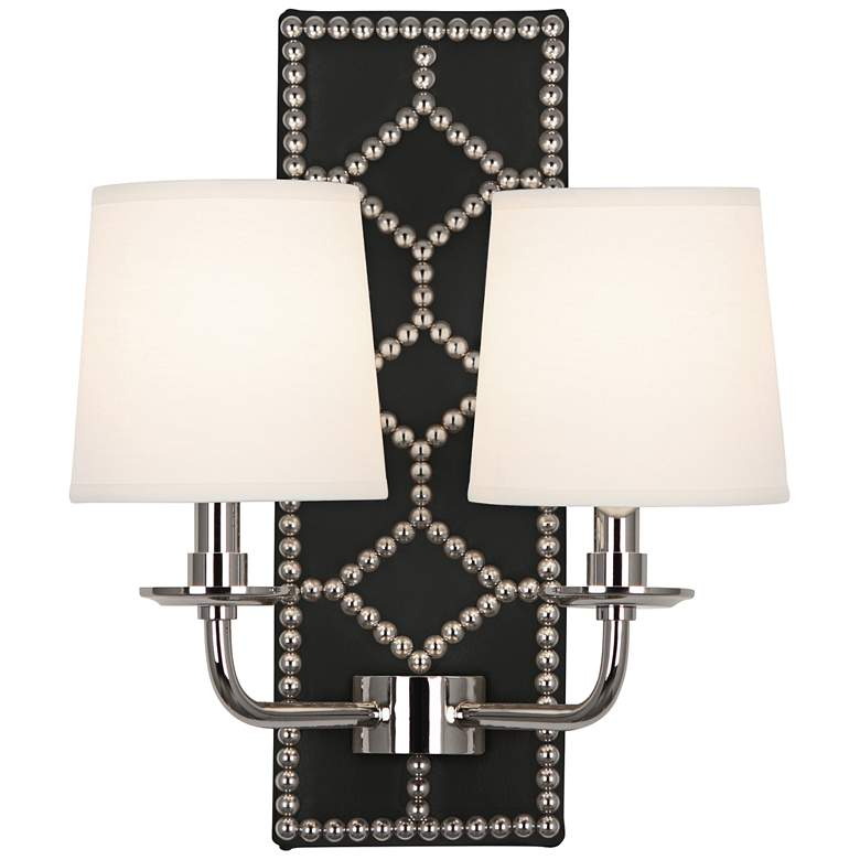 "Lightfoot 16 1/2""H Polished Nickel with Black Leather"