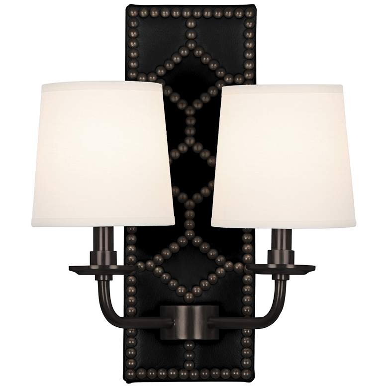 """Lightfoot 16 1/2""""H Patina Bronze with Black Leather Sconce"""