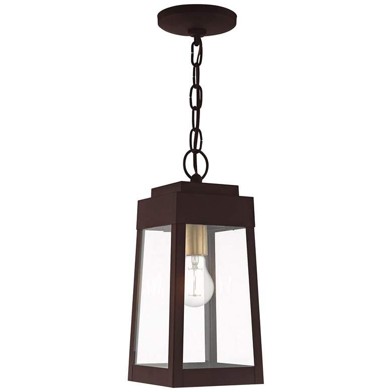 "Oslo 6 1/4"" Wide Bronze Outdoor Lantern Mini Pendant Light"