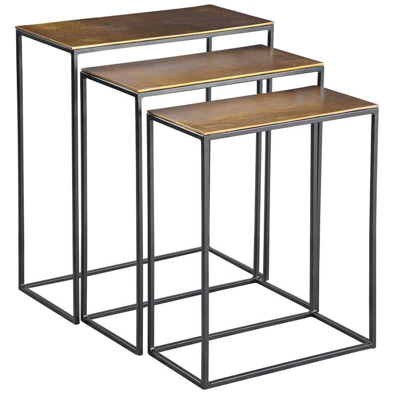 "Coreene 21"" Wide Aged Black and Gold Nesting Tables Set of 3"