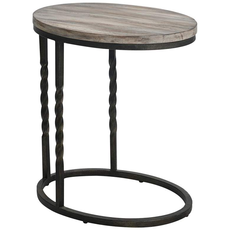 "Uttermost Tauret 20""W Aged Steel with Brown Wood Side Table"