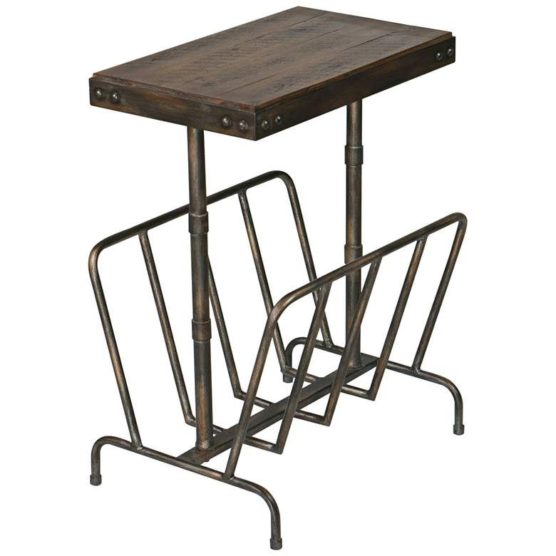 "Sonora 17""W Brushed Iron w/ Walnut Wood Magazine Side Table"