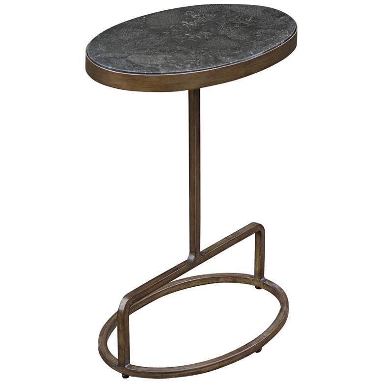 """Jessenia 18""""W Brushed Gold w/ Bluestone Marble Accent Table"""