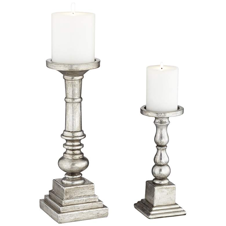 Wicksham Silver Column Pillar Candle Holders Set of 2