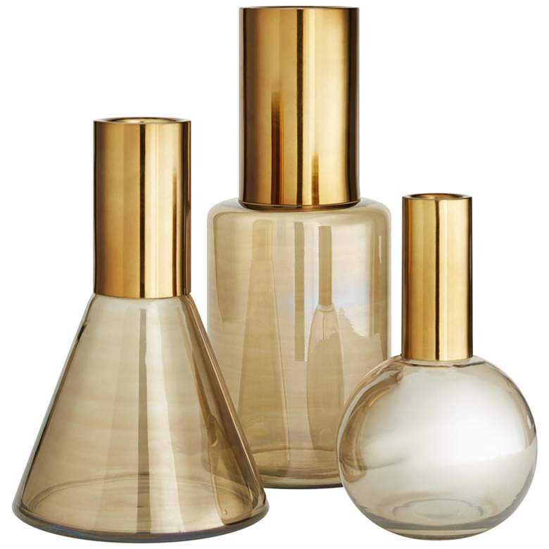 Arteriors Home Union Smoke Luster Glass Vases Set