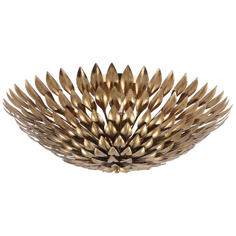 "Crystorama Broche 24"" Wide Antique Gold Bowl Ceiling Light"