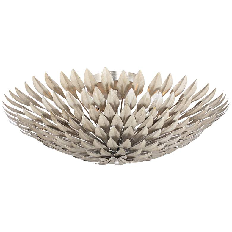 """Crystorama Broche 24"""" Wide Antique Silver Bowl Ceiling Light"""