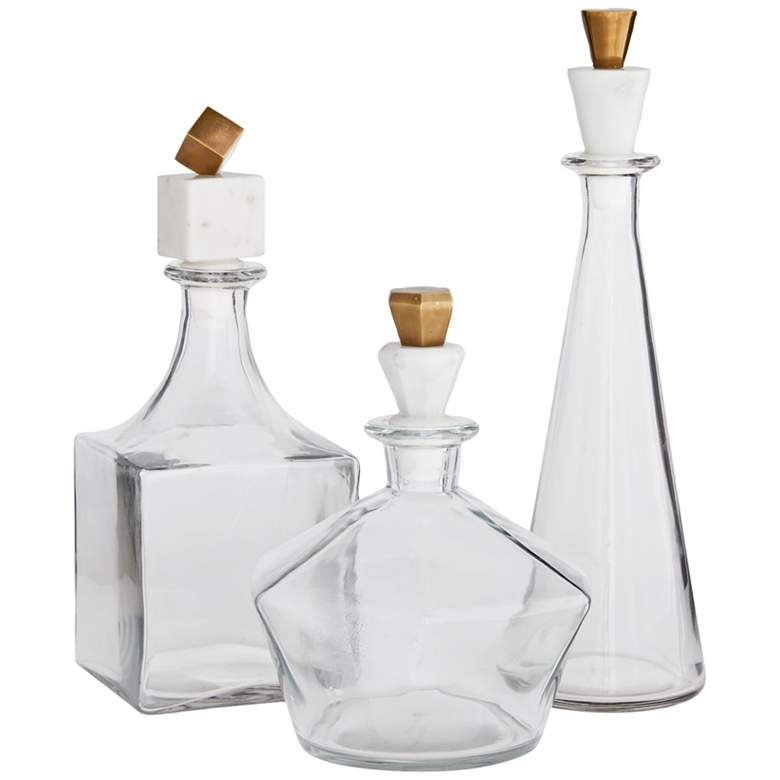 Arteriors Home Wilshire Clear Glass Decanters Set of 3