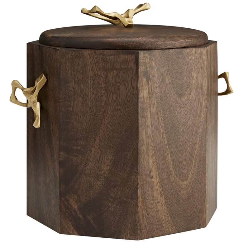 "Wakefield 11"" Wide Walnut Mango Wood Ice Bucket"