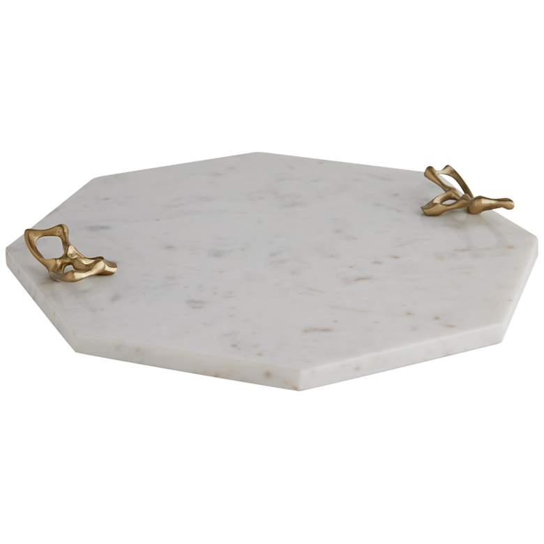 Arteriors Home Wakefield White Marble Octagonal Tray
