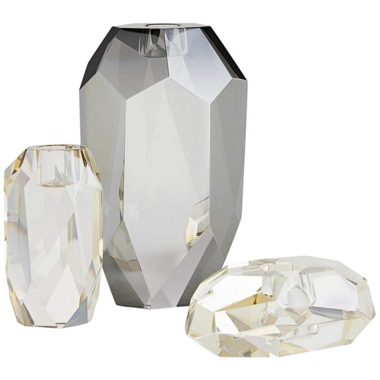 Violet Neutral and Champagne Crystal Candle Holders Set of 3
