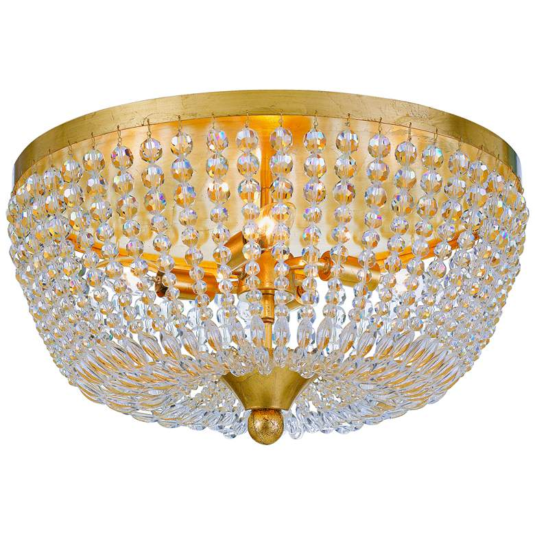 """Crystorama Rylee 18"""" Wide Antique Gold Ceiling Light"""