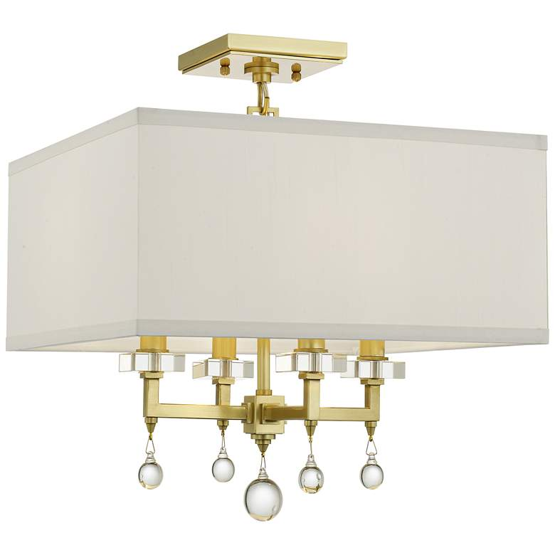 """Crystorama Paxton 16"""" Wide Antique Gold Ceiling Light"""