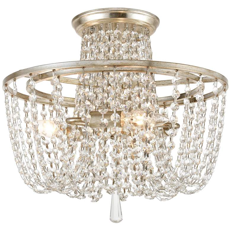 """Crystorama Arcadia 15"""" Wide Antique Silver Ceiling Light"""