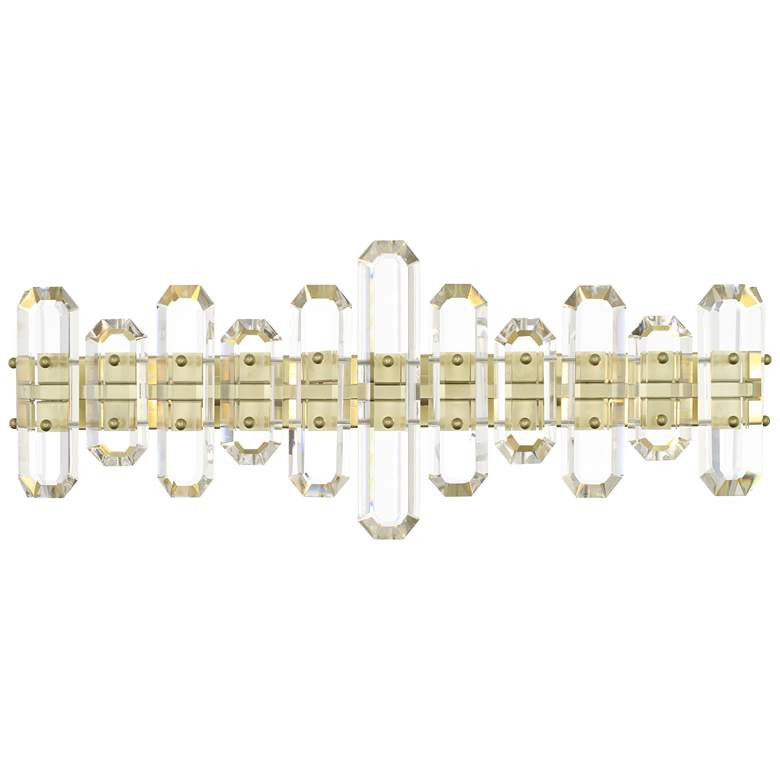 "Crystorama Bolton 26"" Wide Aged Brass Crystal Bath Light"