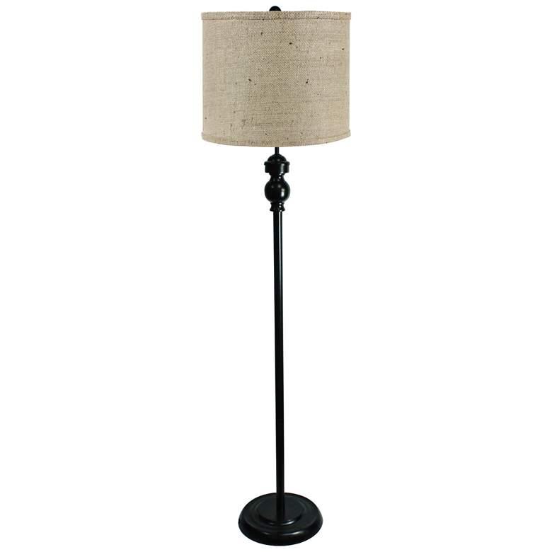 Bridgeport Black Floor Lamp with Natural Burlap Shade