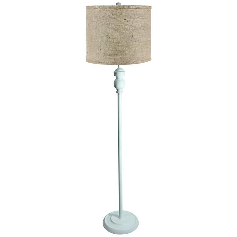 Bridgeport White Floor Lamp with Natural Burlap Shade