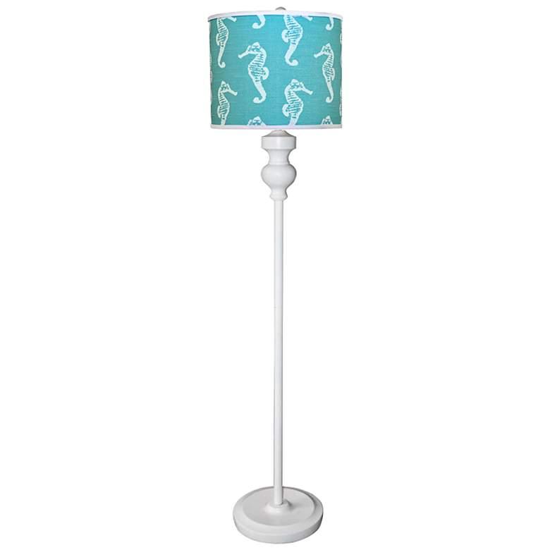 Bridgeport White Floor Lamp with Aqua Sea Horses Shade