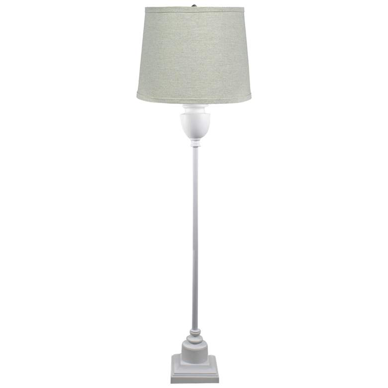 Newport White Metal Floor Lamp with Natural Flax Shade
