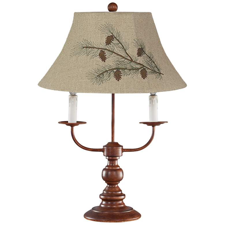 Bayfield Brown 3-Light Table Lamp with Pine Branch