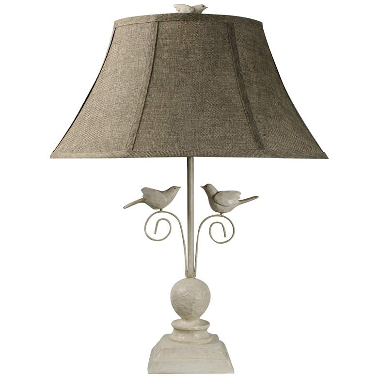 Fly Away Together Antique White Bird Table Lamp