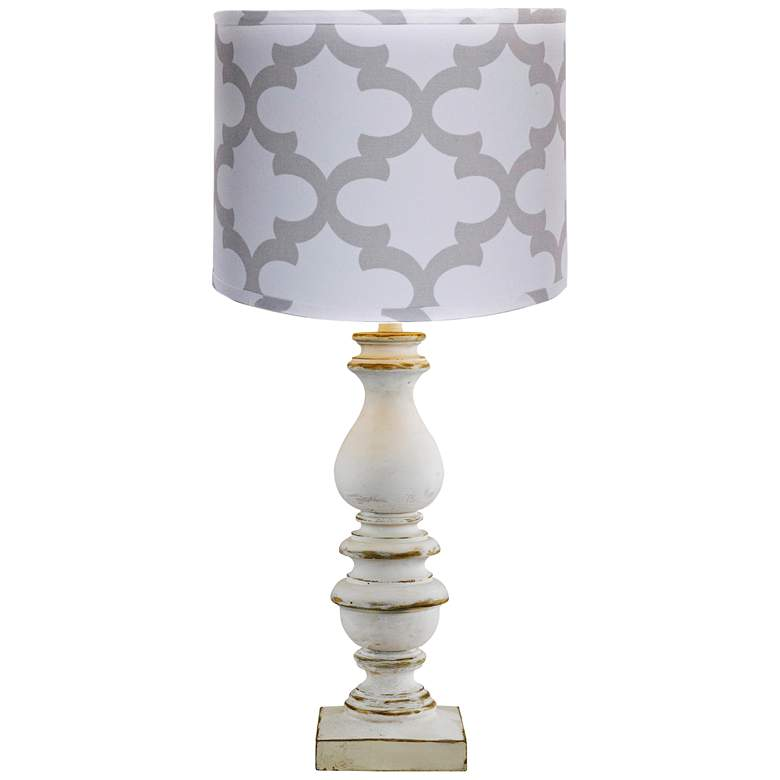 Bishop White Table Lamp with Gray Scroll Shade