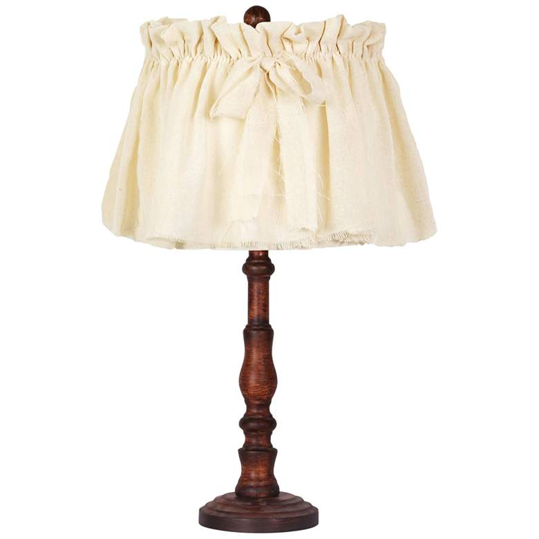 Townsend Brown Accent Table Lamp with Shabby Linen Shade