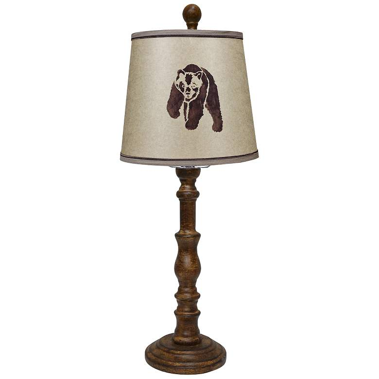 Townsend Wood Finish Rustic Bear Table Lamp