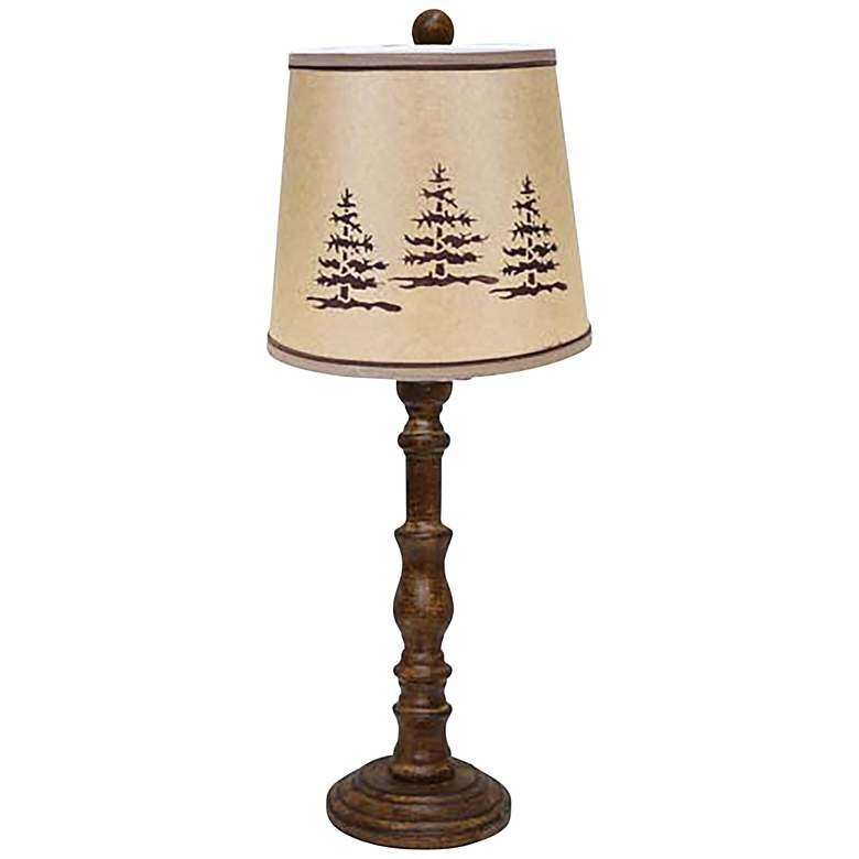 Townsend Wood Finish Rustic Pine Tree Table Lamp