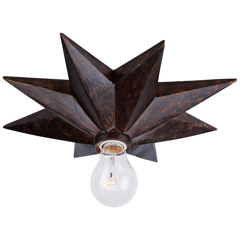 "Crystorama Astro 12""W English Bronze Starburst Ceiling Light"