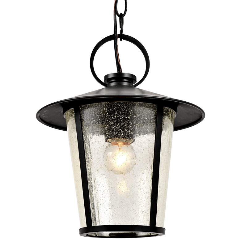 "Crystorama Andover 11""H Matte Black Outdoor Hanging Light"