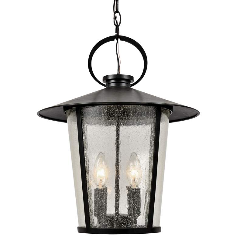 "Crystorama Andover 17""H Matte Black Outdoor Hanging Light"