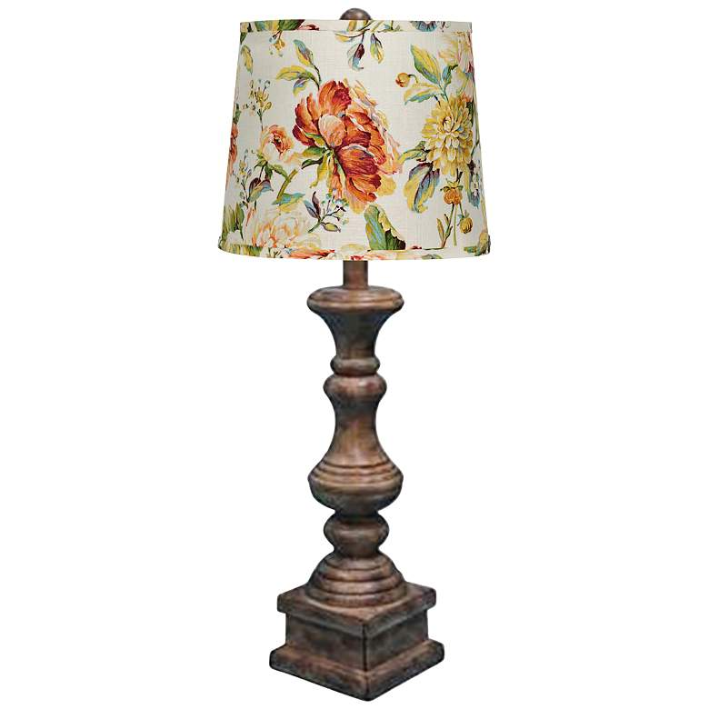 Austin Brown Pedestal Table Lamp with Belle Fleur