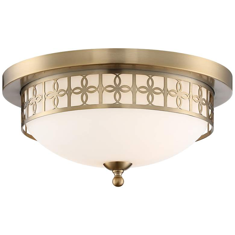 """Anniversary 13 1/2"""" Wide Vibrant Gold Ceiling Light"""