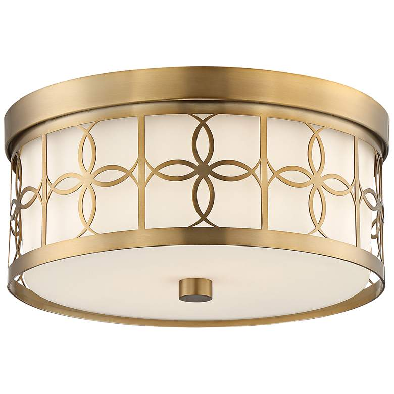"""Anniversary 13 1/2"""" Wide Vibrant Gold Drum Ceiling Light"""