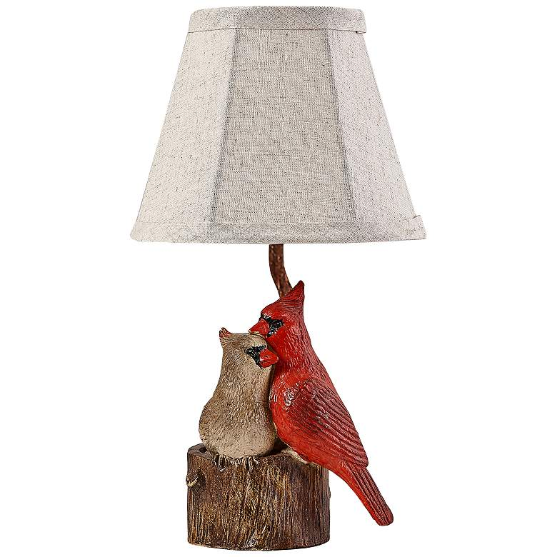 "Two Cardinals 12 3/4"" High Red Accent Table Lamp"