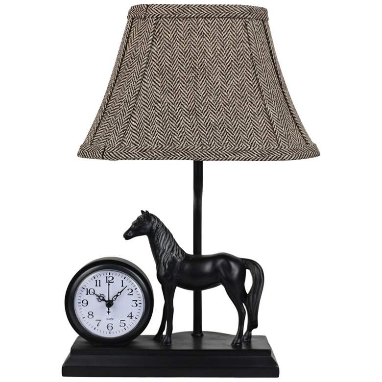 """Winning Time 14 1/2"""" High Horse Table Lamp with Clock"""