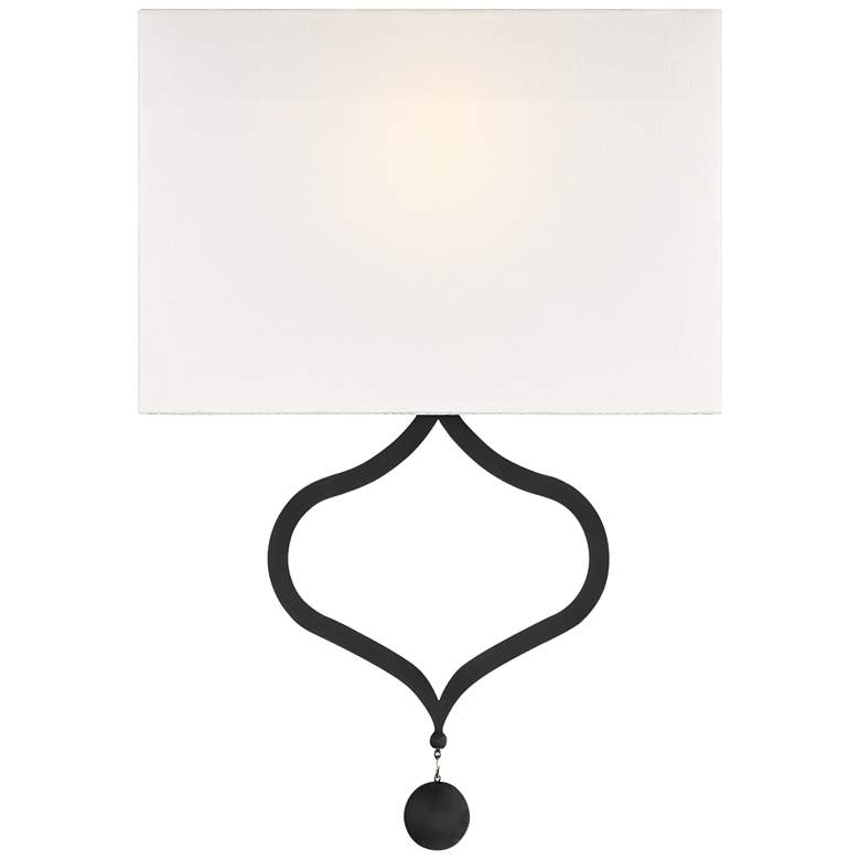"Crystorama Derby 16 3/4"" High Black Forged Wall Sconce"