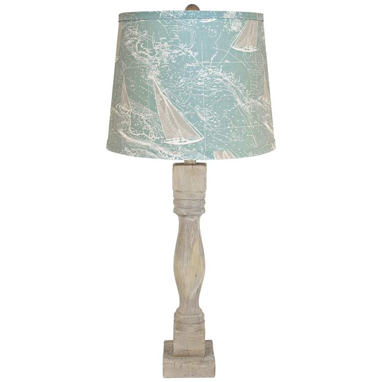 Gables Washed Wood Table Lamp with Sail Away