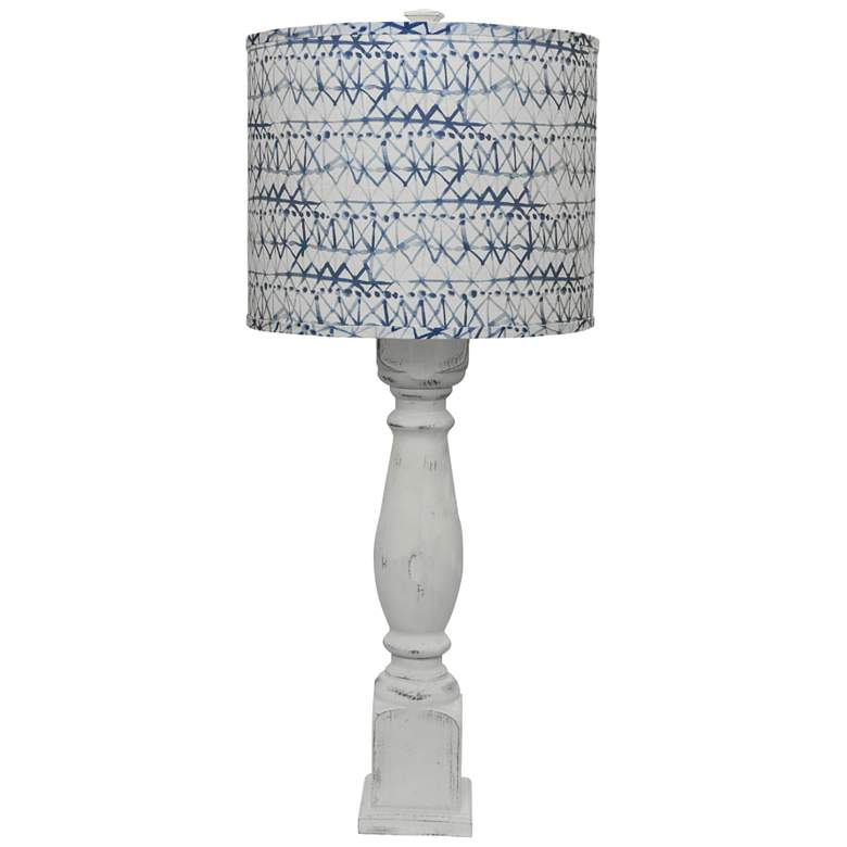 Hudson White Table Lamp with Blue and White Linen Shade