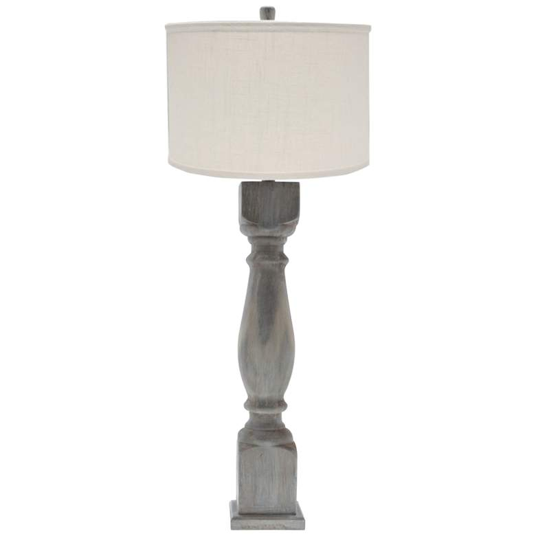 Hudson White Wash Table Lamp with Ivory Linen Shade