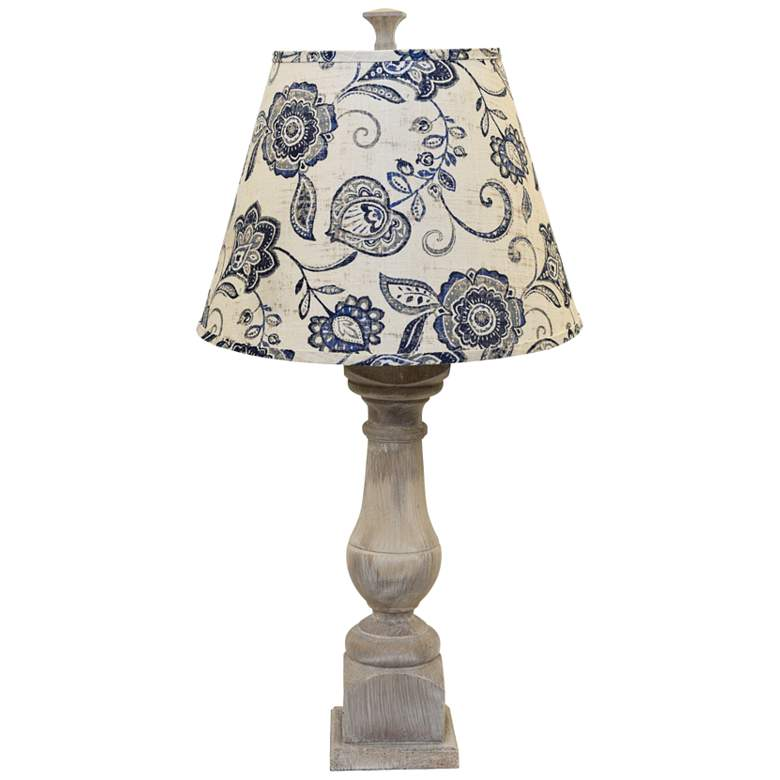 Rhone Washed Table Lamp with Cottage Lily Blue Linen Shade