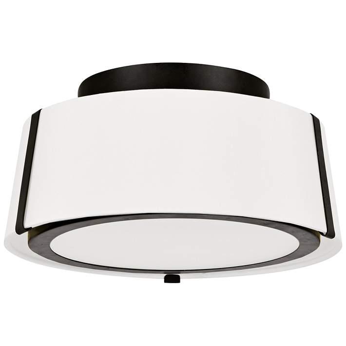 Wide Matte Black Drum Ceiling Light
