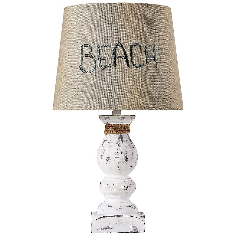"Beach 12"" High Distressed White Pedestal Accent Table"