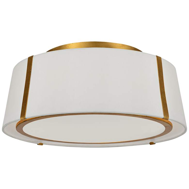 """Crystorama Fulton 18"""" Wide Antique Gold Drum Ceiling Light"""