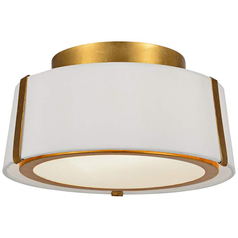 """Crystorama Fulton 12"""" Wide Antique Gold Drum Ceiling Light"""