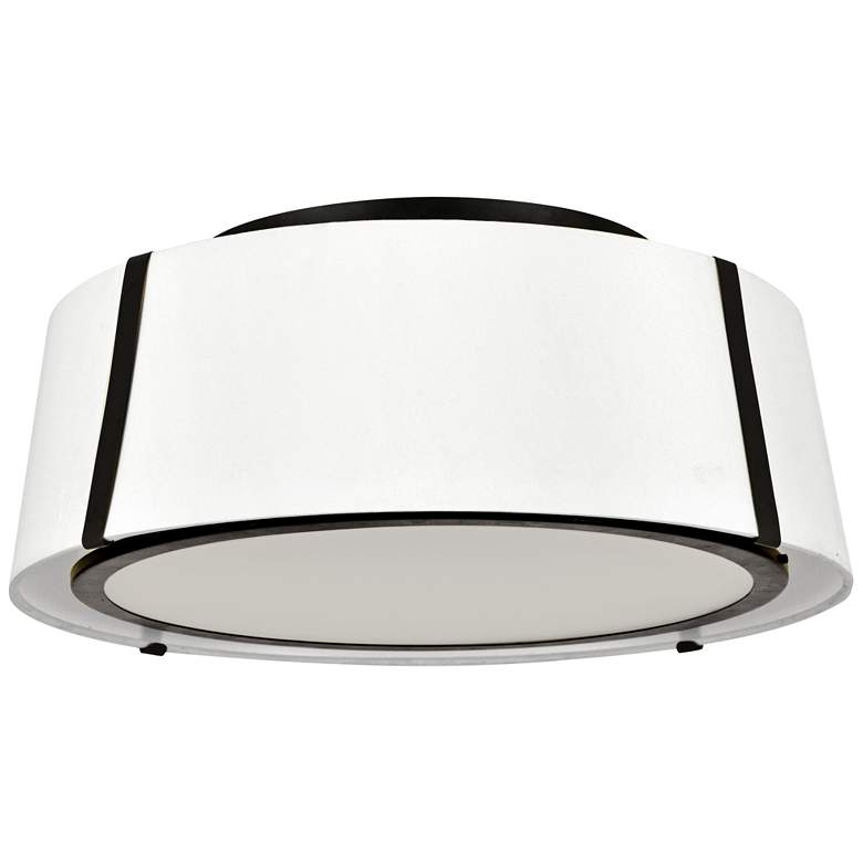 "Crystorama Fulton 18"" Wide Matte Black Drum Ceiling Light"