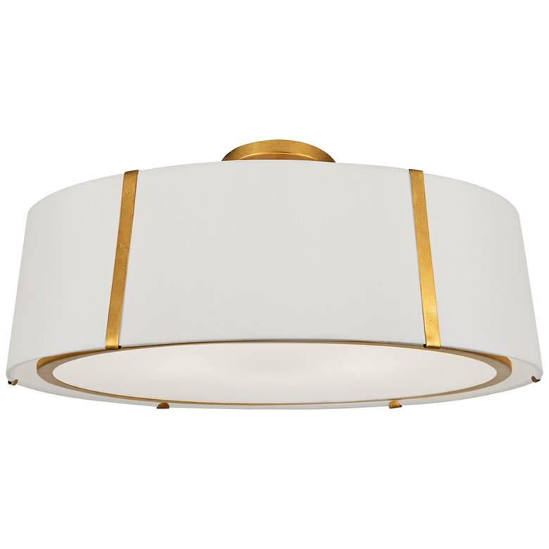 """Crystorama Fulton 24"""" Wide Antique Gold Drum Ceiling Light"""